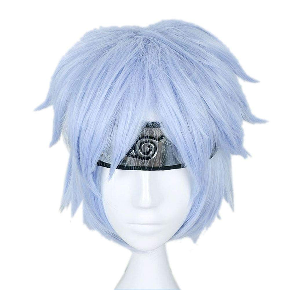 Mitsuki Wig Cospaly Ice-blue Short Hair Heat Resistant Fiber Wigs for Halloween Party