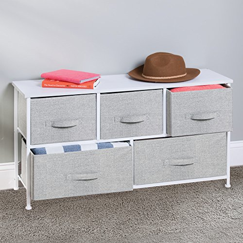 InterDesign Aldo Fabric 5-Drawer Dresser and Storage Organizer Unit for Bedroom, Apartment, Small Living Spaces – Gray by InterDesign (Image #4)'