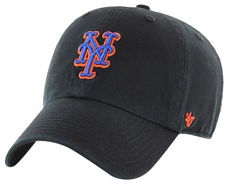 6828b6aeb4d Amazon.com    47 York Mets Clean Up Dad Hat Cap MLB Black Royal Orange    Sports   Outdoors