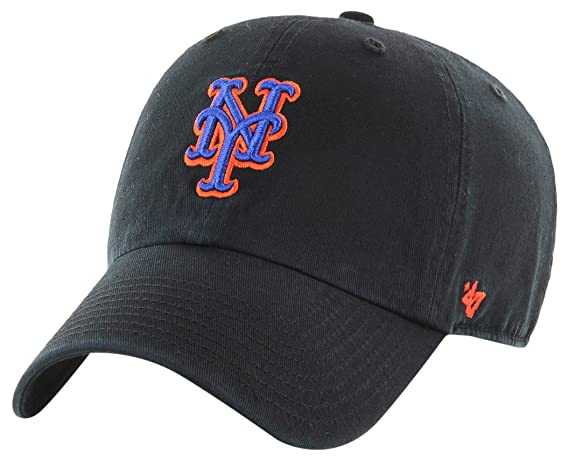 ba193775 Amazon.com : '47 York Mets Clean Up Dad Hat Cap MLB Black/Royal/Orange :  Clothing