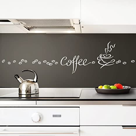 Grandora Wandtattoo Coffee Kaffee Tasse Kaffeebohnen I weiß Kreativset I  Esszimmer Kaffeeecke Küche Aufkleber Wandaufkleber Wandsticker Sticker 1045W