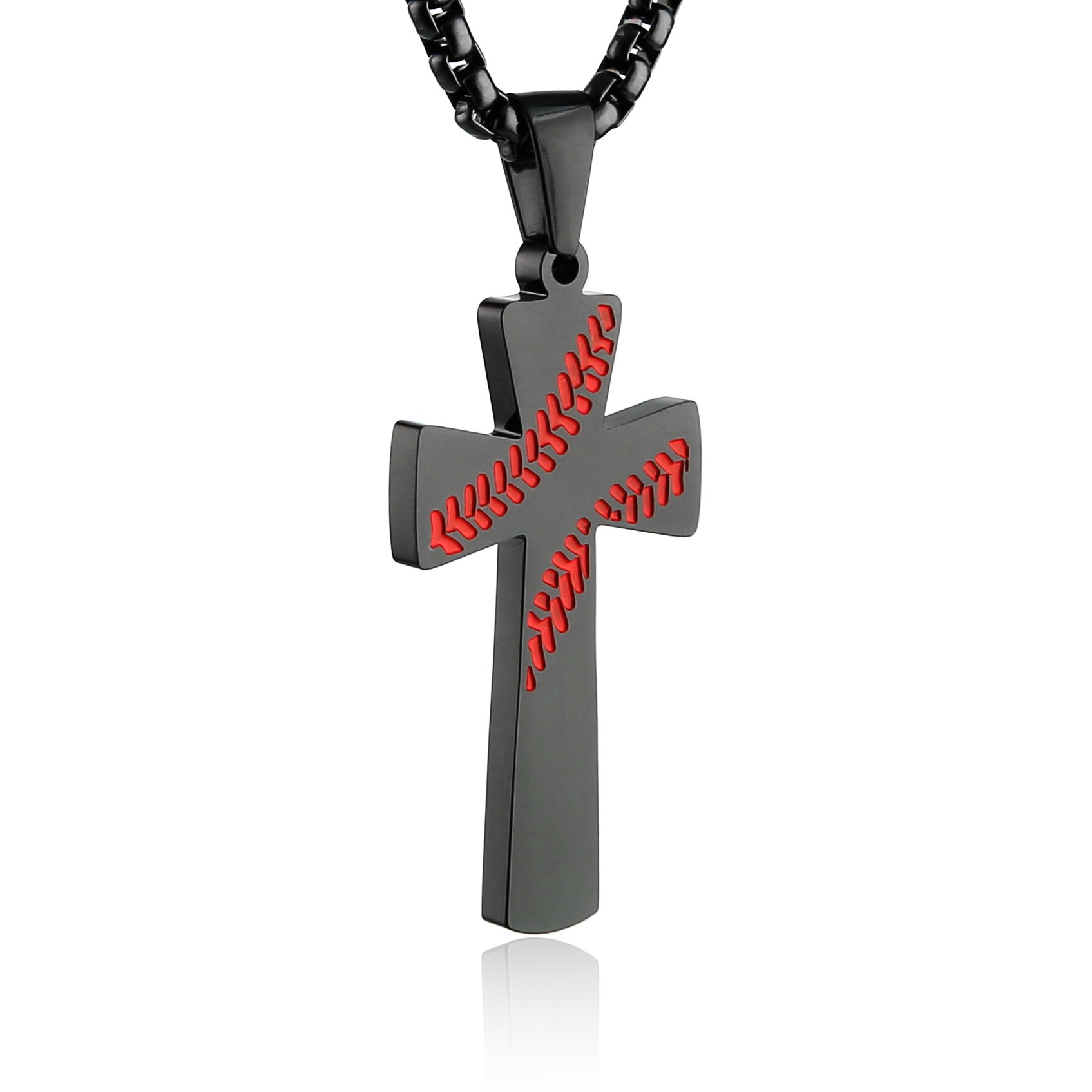 HZMAN Baseball Cross Pendant, I CAN DO All Things Strength Bible Verse Stainless Steel Necklace (Black)