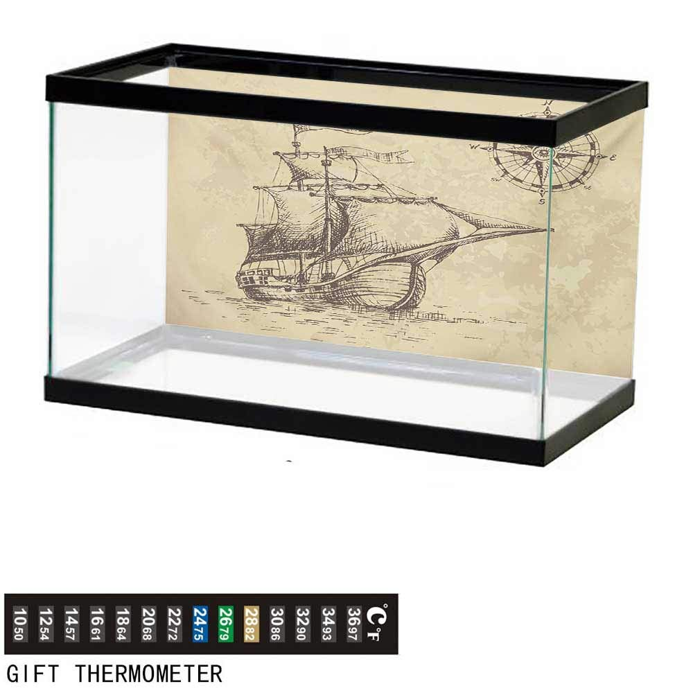 wwwhsl Aquarium Background,Compass,Hand Drawn Old Paper Style Background Ancient Ship Flags Journey Navigation,Brown Sand Brown Fish Tank Backdrop 60'' L X 24'' H