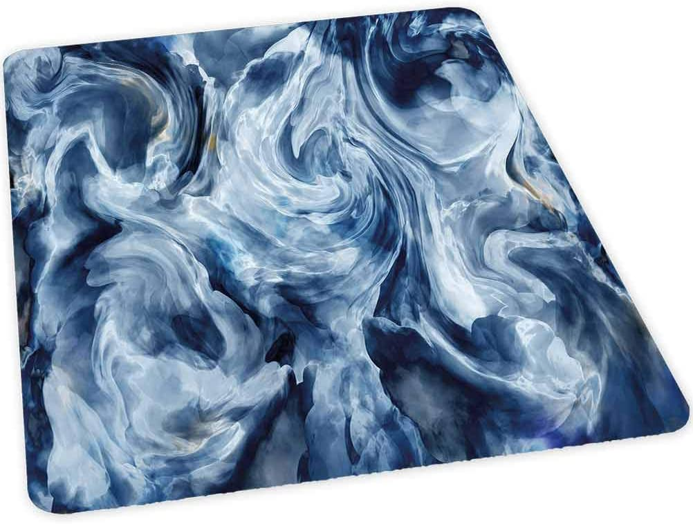 Office Chair Mat for Hard Floor, Grunge Stormy Murky Color Shades Motif Background with Blu, 30