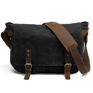 Sacoche en cuir pour sac bandoulière Travail Besace en cuir Sac de voyage unisexe noir iqdGuBzN