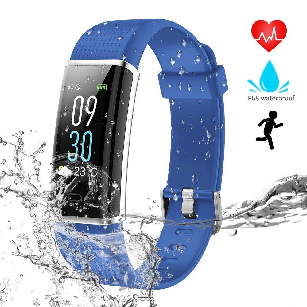 WZTO Montre Connectée Bluetooth Fitness Tracker dActivité Écran Couleur Etanche IP68 Cardiofréquencemètre Tension Artérielle Cardio Podomètre ...