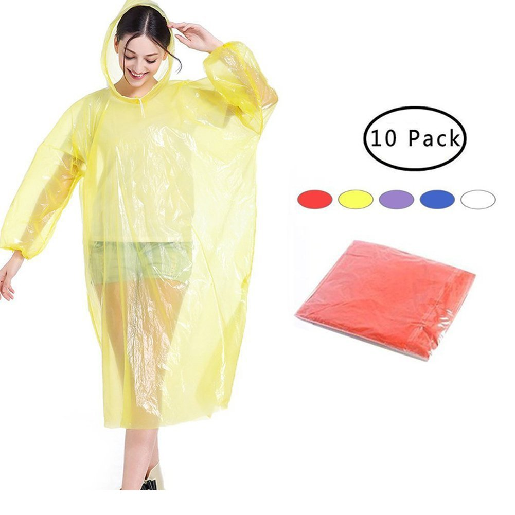 FarWarm Disposable Rain Ponchos Emergency Waterproof Rainwear for Adults In Bulk 10 Pack Including Drawstring Hood Assorted Colors for Disney,Family Travel,Camping,Hiking,Fishing