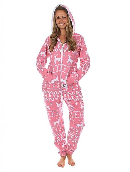 Tipsy Elves Pijama rosa de cuerpo entero. Estampado de grecas alpinas Size XXS