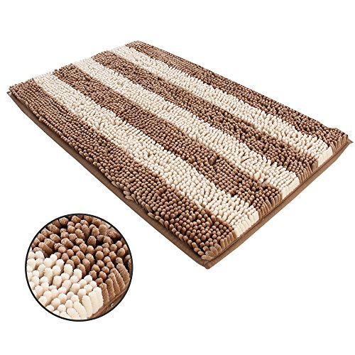 Ihoming Pet Mud Rugs Bowl Bed Mat Absorbent Microfiber Chenille Stripe Dog Cat Door Mat Paw Step Clean Rugs,Coffee/Beige, 19 by 31 inches by Ihoming