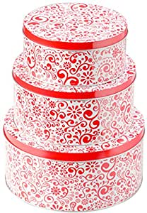 StarPack Premium Christmas Cookie Tins Set of 3 - Decorative Cookie Gift Tins, Extra Thick Steel - Large, Medium and Small - Bonus 101 Cooking Tips
