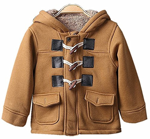 Wool Toggle Hooded Blend (SLLSKY Toddler Boy's Cotton Blend Winter Fleece Outfits Duffle Hoodies Toogle Pea Coats Brown 130/6T)