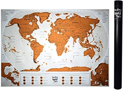 Scratch Off The World Map + mapa de viaje profesional personalizado con mapas detallados de la capital, monumentos famosos del mundo,regalos que incluyen herramientas para rascar precisos(84 x 58 cm): Amazon.es: Oficina