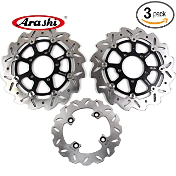 Arashi Front Rear Brake Disc Rotors for KAWASAKI Ninja ZX6R 636 2005 2006 Motorcycle Replacement Accessories ZX-6R 05-06 ZX6RR ZX-6RR Black KLE Versys ...