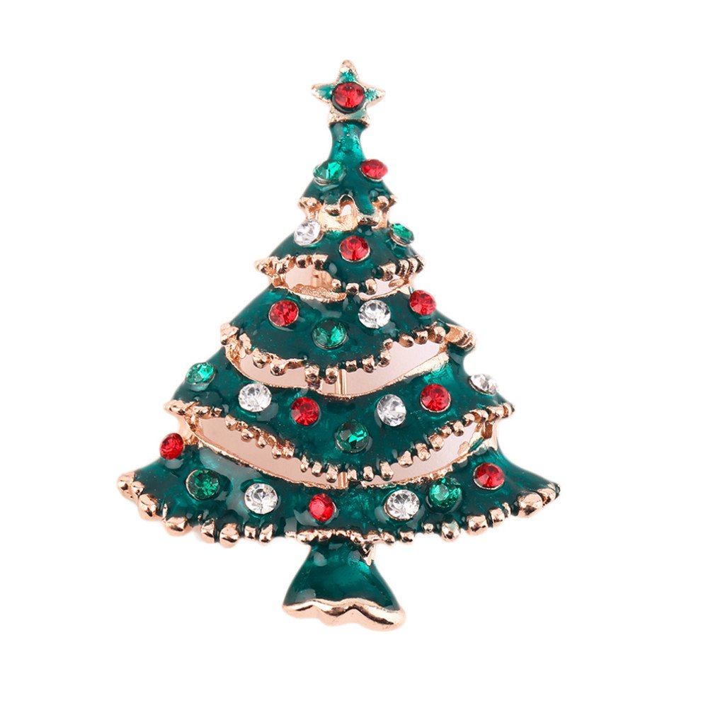 *UK* Silver-Tone Full Green Tree Brooch 4.0 x 3.2cm Green Christmas Rhinestone Red Baubels Gold-Tone Tinsel Pin Cadoline CB10