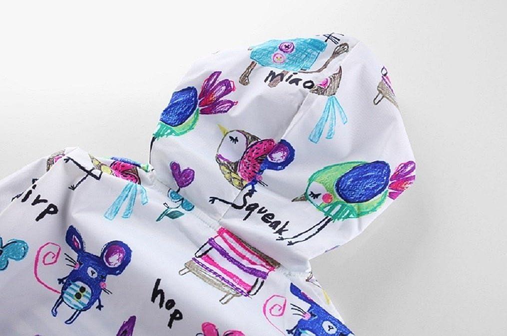 Sworld Girls Animal Graffiti Coat Hooded Warm Outdoors 1-5 Years