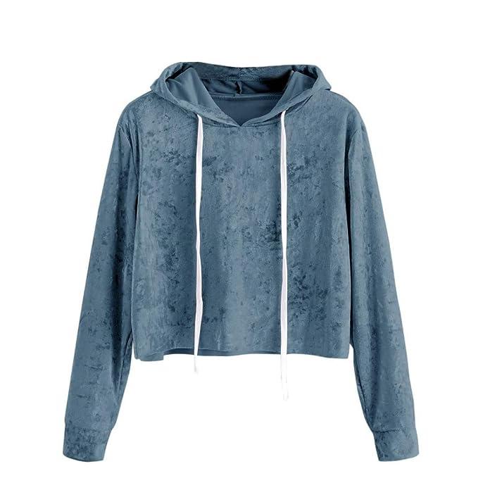 BaZhaHei de Blusa, Suéter con Capucha de Terciopelo de Manga Larga Camisas para Mujer Sudadera