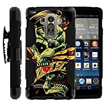 G Stylo Cover, Swivelling Belt Clip, Double Layer Combo Armor Reloaded w/ Kickstand - Skulls Designs - for LG G Stylo, G4 Stylus LS770, H631, MS631 by MINITURTLE - Tattoo Skull