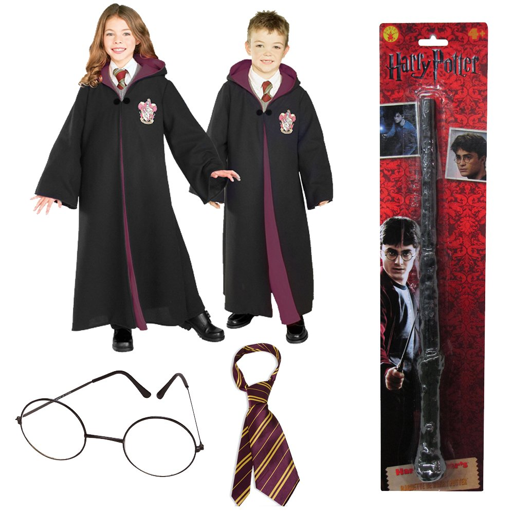 Harry Potter Deluxe Gryffindor kids Costume with Robe, Tie, Glasses and Wand (S) by Rubie's