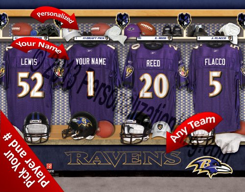 Baltimore Ravens Team Locker Room Clubhouse Personlized Officially Licensed NFL Photo Print ()