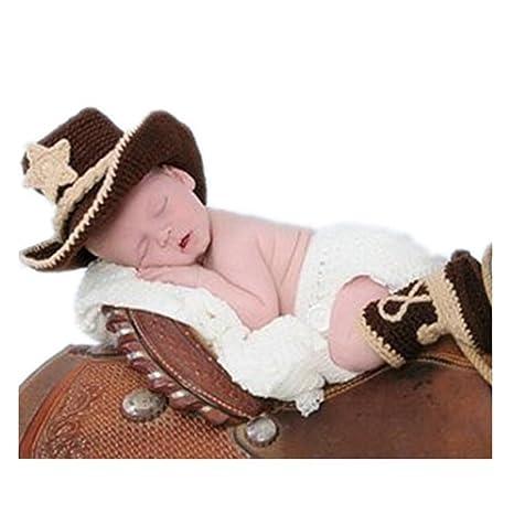 binlunnu recién nacido fotografía Props Boy Girl Crochet Costume Outfits  Sombrero de cowboy pantalones de maletero d443ca013b6
