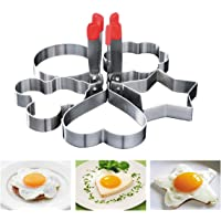 OBTANIM Stainless Steel Fried Egg Ring Mold Omelette Pancake Rings Cute Shape Egg Mold Cooking Tools for Breakfast Frying Sandwiches, Griddle, 5 Pcs