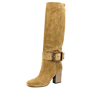 e0a54b9671e7 Gucci Women s Brown Suede Buckle Heel Kesha Boots 338693 2527 (38.5 G   8.5  US