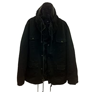 Amazon.com: Forever21 Men Black Military Style Coat Jacket (L ...