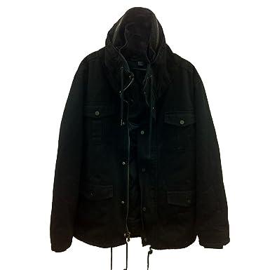 Amazon.com: Forever21 Men Black Military Style Coat Jacket (L ...