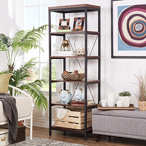 Industrial Rustic Style Black Metal Frame 6 Tier 26 inches Horizontal Bookshelf Storage Media Tower | Dark Brown Finish, Living Room Decor - Includes Modhaus Living Pen (26-inches wide)