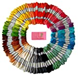Arts & Crafts : Premium Rainbow Color Embroidery Floss – Cross Stitch Threads – Friendship Bracelets Floss – Crafts Floss – 105 Skeins Per Pack and Free Set of Embroidery Needles