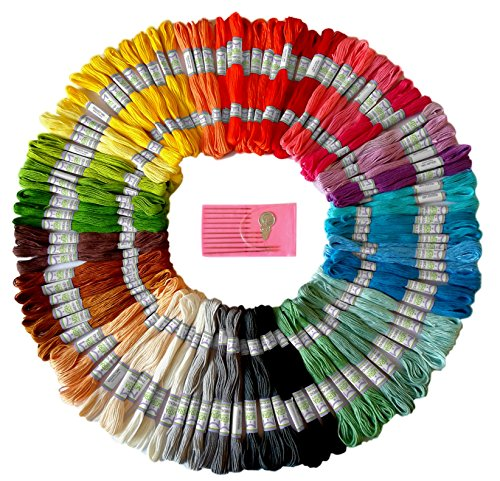 Premium Rainbow Color Embroidery Floss – Cross Stitch Threads – Friendship Bracelets Floss – Crafts Floss – 105 Skeins Per Pack and Free Set of Embroidery Needles (Dmc Flower)