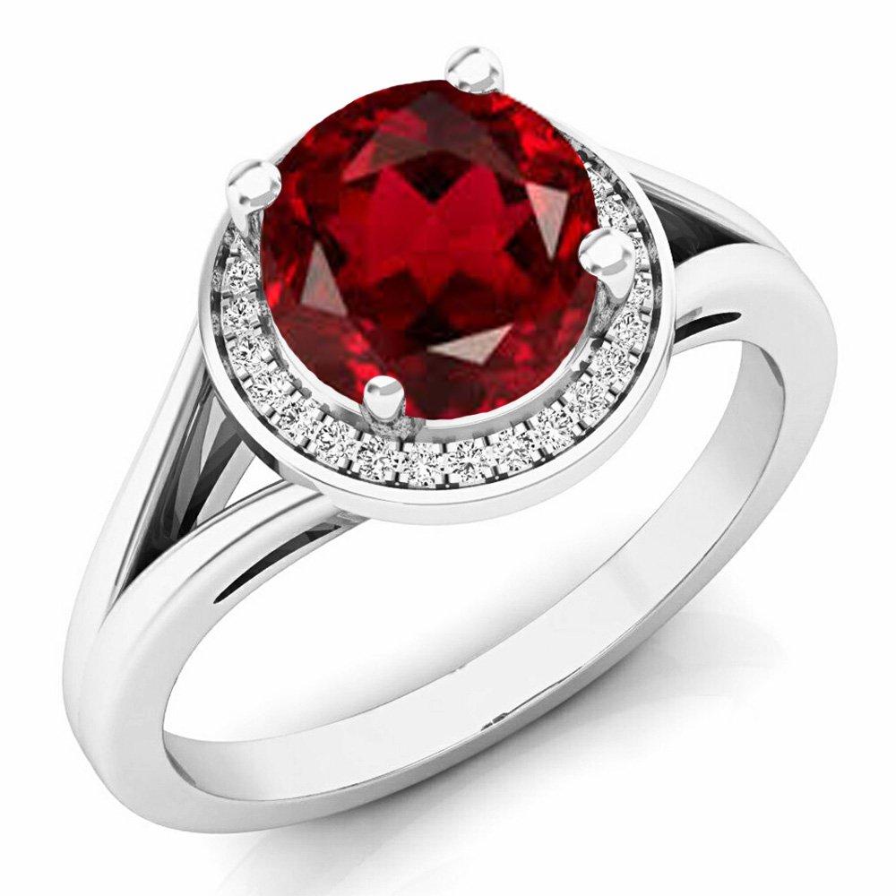14K White Gold 7 MM Garnet & White Diamond Halo Style Bridal Engagement Ring (Size 4.5)
