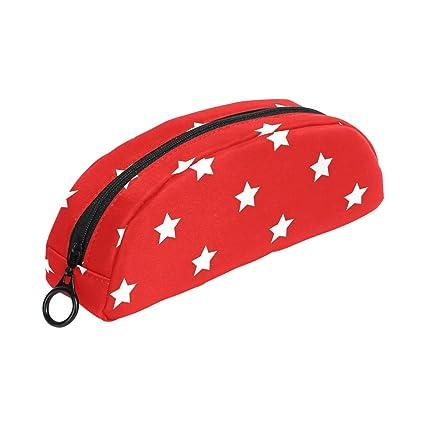 COOSUN Estrellas Rojo Patriótico Estuche Semicircular Papelería Bolso Bolsa Soporte Estuche Maquillaje Bolsa Cosmética para Mujeres Niñas: Amazon.es: Oficina y papelería