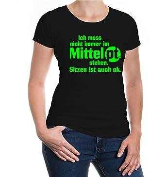 buXsbaum® Girlie T-Shirt Ich muss nicht immer im Mittelpunkt stehen:  Amazon.de: Bekleidung