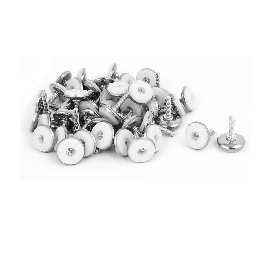 uxcell M6x25mm Plastic Base Adjustable Leveling Glide Foot 50pcs for Cabinet Table Leg