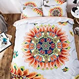 TheFit Paisley Textile Bedding for Adult U438 The Sun Colorful Boho Duvet Cover Set 100% Cotton, Queen Set, 4 Piece