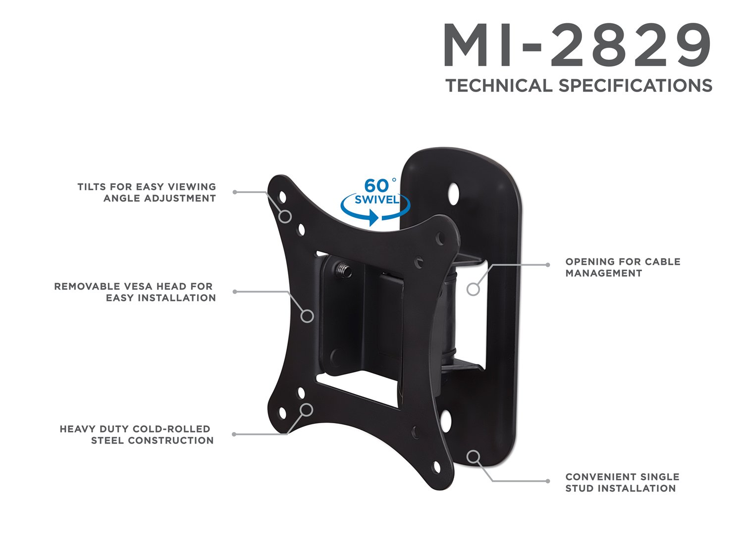 Buy Mount-It MI-2829 TV Mount For Flat Screens Tilting TV Wall Mount  Bracket Fits up to 25 Inch LCD LED TVs and Computer Monitors VESA 75 and  100 Compatible ...