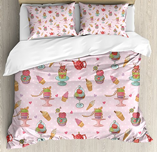 Ambesonne Ice Cream Decor Duvet Cover Set King Size, Retro C