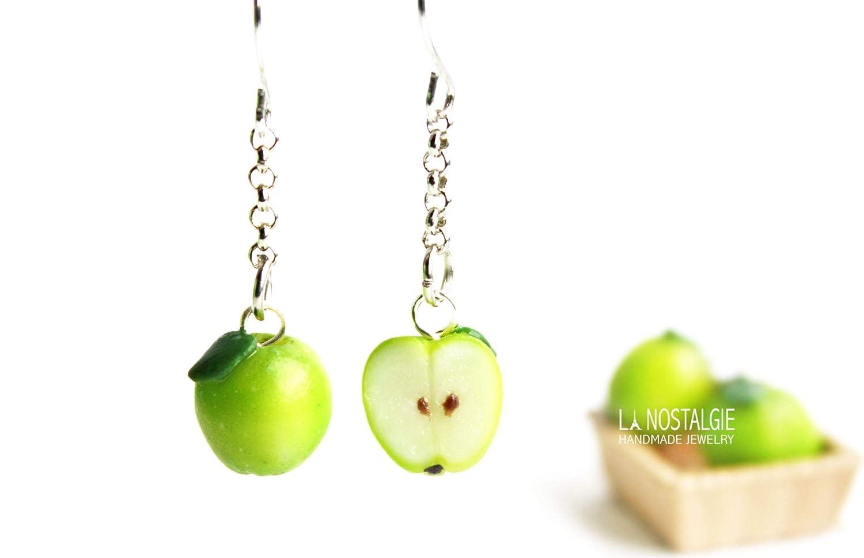 Fresh Green Apple Silver Dangle Earrings For Woman Get-Well Gift For Teacher | La Nostalgie