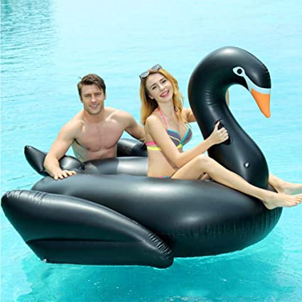 JYY Flotador Gigante Inflable Cisne Negro Flotador De Piscina Divertido Kids Swim Party Beach Toy Balsa