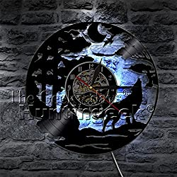 Howling Wolf Vinyl Record Wall Clock Animal Lover Gift Wolf Moon Wall Clock Modern Antique Art Decorative Hanging Wall Clocks (With LED)