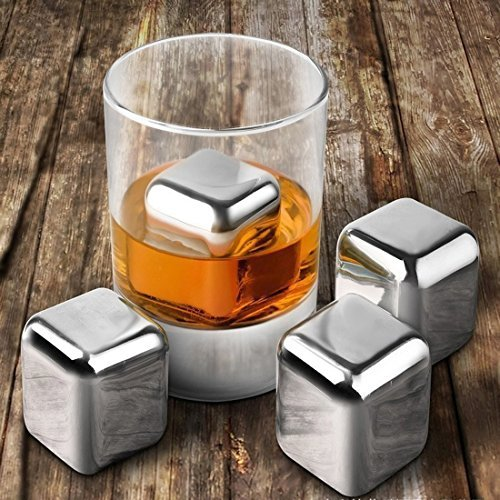 HSS Set Of 8 Reusable Stainless Steel Ice Cubes For Whiskey Wine Beverage With Tongs/Pincers;Non Toxic, Easy To Wash And Very Durable by HSS-Ice Cube