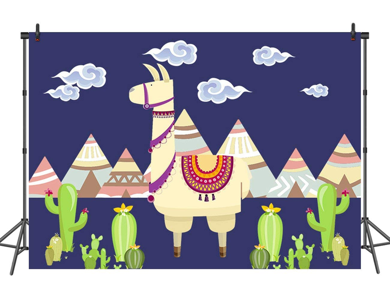 7x5ft Llama Backdrop with White Clouds Cactus Llama Themed Party Decoration Kids Birthday Party Supplies