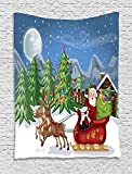 asddcdfdd Christmas Tapestry, Country Landscape at Night with Trees Santa Claus Snowdrift Reindeers Mountains, Wall Hanging for Bedroom Living Room Dorm, 60 W X 80 L Inches, Multicolor