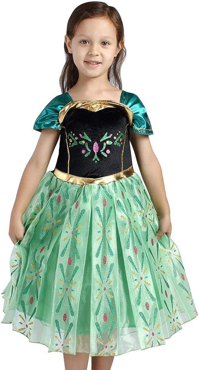 IWEMEK Disfraz de Princesa Anna Vestido Frozen Niñas Reina de ...
