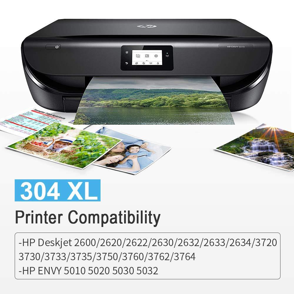 Gmoher Remanufacturado Cartucho de Tinta para HP 304XL 304 Alto Rendimiento Cartucho de Tinta N9KO8A / N9KO7A Compatible con HP DeskJet 3720 3730 3732 ...