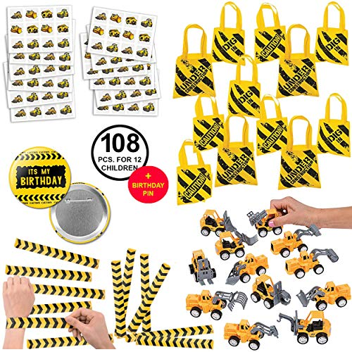 RBBZ party 108 Piece Construction Favors Party Supplies Pack Birthday Bundle for 12 -
