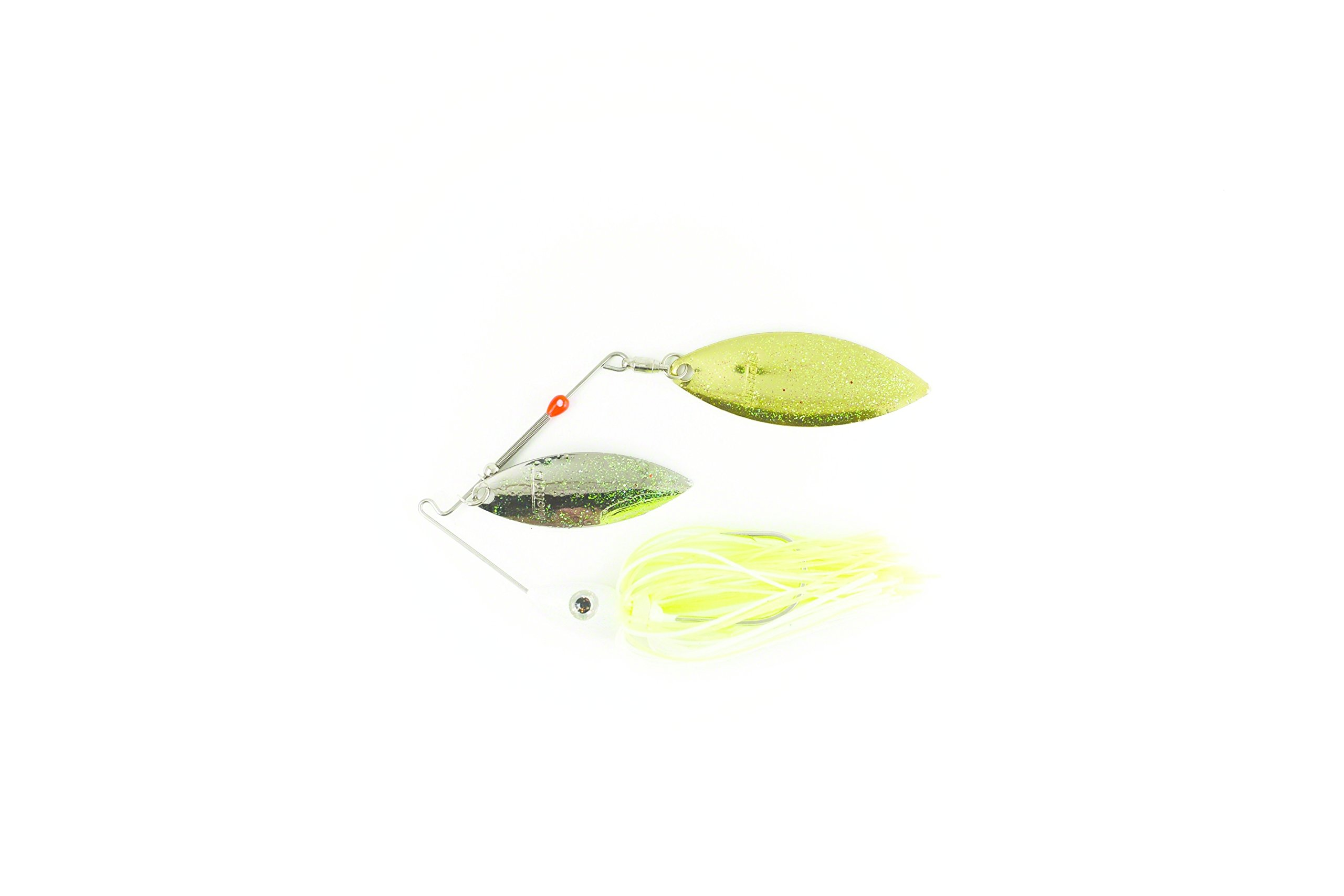 Nichols Lures Pulsator Metal Flake Double Willow Spinnerbait, White/Chartreuse/Nickel Gold, 3/8-Ounce by Nichols Lures