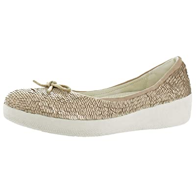 FitFlop Womens Superballerina with Sequins Flat Shoes | Shoes