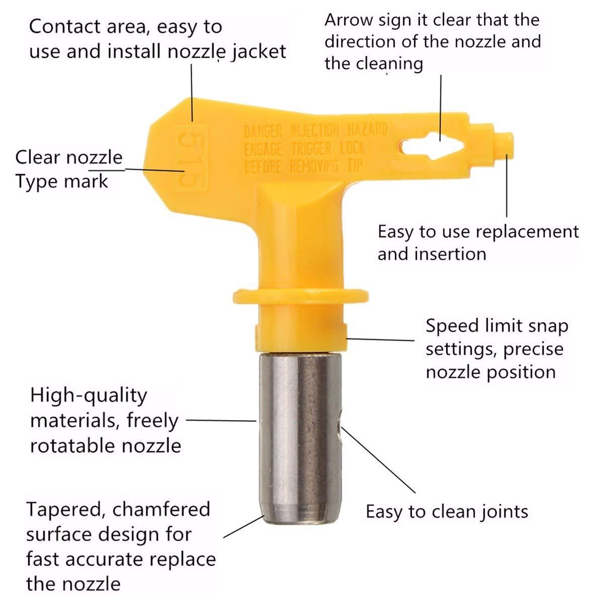 jaune Buse a/érographe s/érie 5 pour peinture Airless peinture pistolet pistolet pointe rev/êtement en poudre pulv/érisateur de peinture portable outil de r/éparation automatique